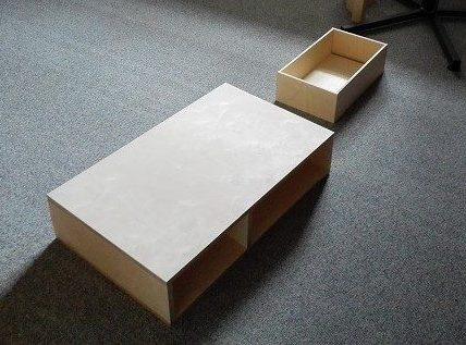 Korpus und Schublade für DIY Couchtisch